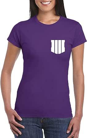 Purple Female Gildan Short Sleeve T-Shirt - Black ops 4 – Chest and back design
