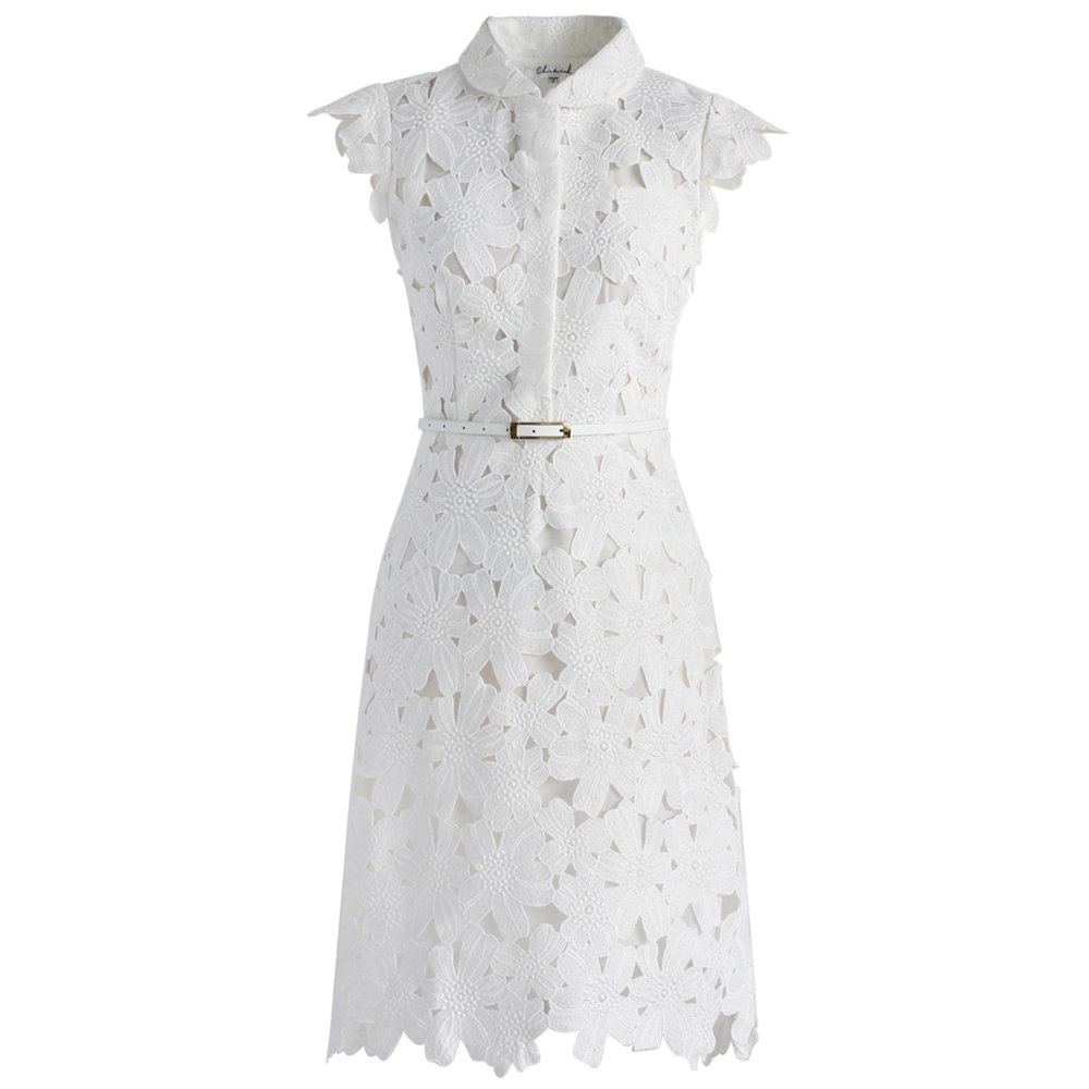 Chicwish Womens White Floral Lace Crochet Flared Sleeveless A Line