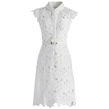 d9a2f5cc73c Image Unavailable. Image not available for. Color  Chicwish Women s White  Floral Lace Crochet Flared Sleeveless A-line Midi Dress