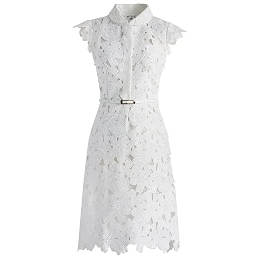 Image Unavailable. Image not available for. Color  Chicwish Women s White  Floral Lace Crochet Flared Sleeveless A-line Midi Dress 773ba98a70