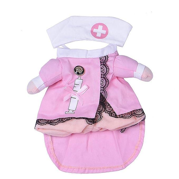 GenialES Disfraz de Enfermera para Gatos Mascota Chaqueta con Dos Patas + Gorro Regalo de Navidad Halloween: Amazon.es: Ropa y accesorios