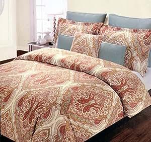 Amazon Com Tahari Queen Duvet Set Orange Blue Green