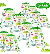 POKONBOY 24 Pack Dinosaur Party Favors Bags for Gift Bag, Dinosaur Birthday Party Supplies Dinosa...