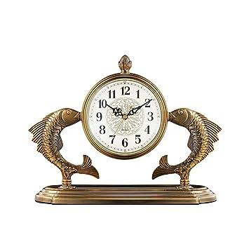 WZclock Sala de Estar Reloj de sobremesa Reloj Artesanal Adornos Estudiante nórdico Reloj Escritorio Mesa Reloj Europeo Sala de conferencias Reloj: ...