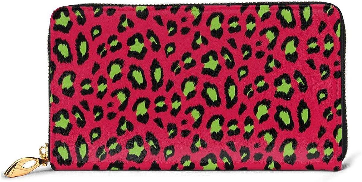 Leopard Wallets For Men Women Long Leather Checkbook Card Holder Purse Zipper Buckle Elegant Clutch Ladies Coin Purse