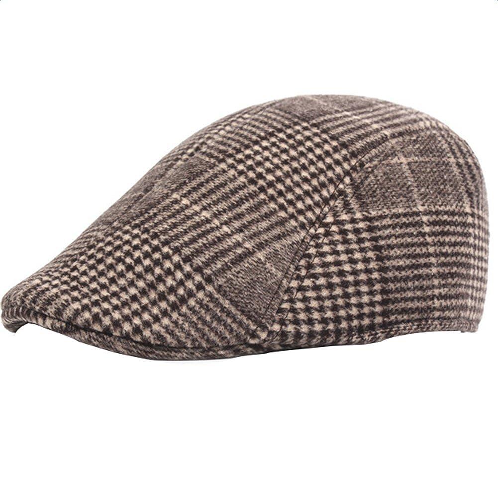 Westeng Men's Flat Cap Tweed Cotton Warm Newsboy Cabbie Driving Beret Cap Retro Duckbill Hat Adjustable