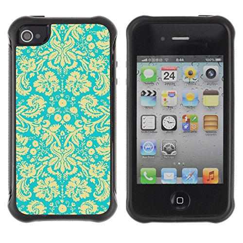 Apple Iphone 4 / 4S - Wallpaper Vintage Floral Blossoms Turquoise Art