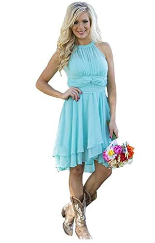 Meledy Women's Knee Length Country Bridesmaid Dress Western Wedding Guest Dress