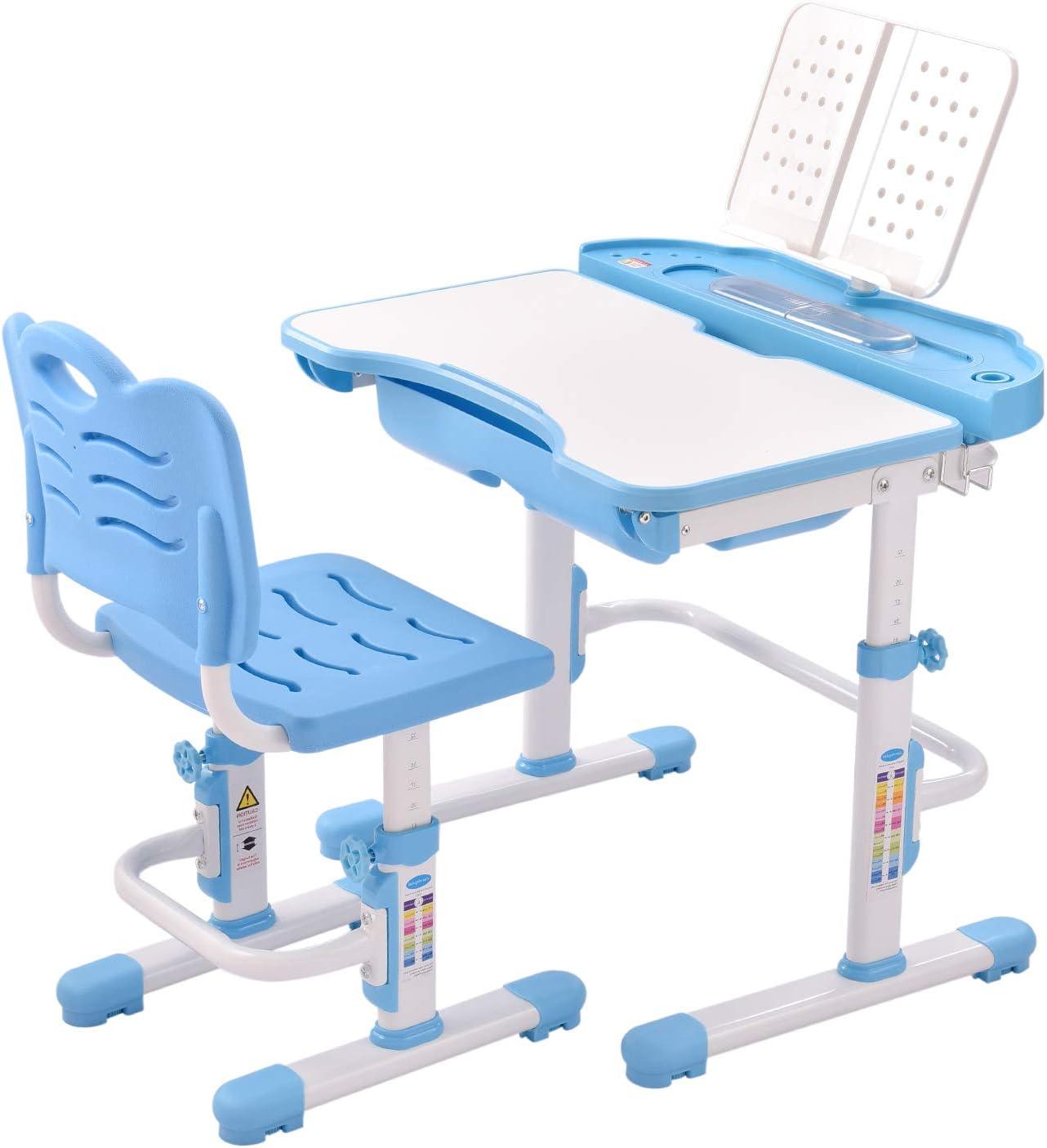 Children Study Desk, Height Adjustable Kids Table and Chair Set, Tilted Desktop, Pull Out Drawer Storage, Metal Hook, Multifunctional School Student Study Desk Chair.Light Gray/Blue/Pink. (Blue)