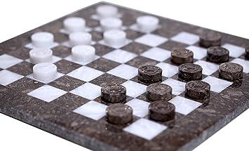 Radicaln Juego de Mesa Checkers de Mármol Hecho a Mano 16 Pulgadas Borrador de ajedrez Oceanic