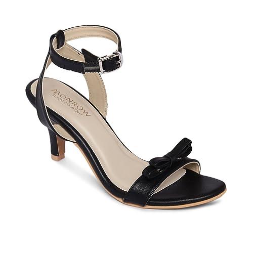 21cfcb0d707 Monrow Bella Black Kitten Heels  Buy Online at Low Prices in India -  Amazon.in