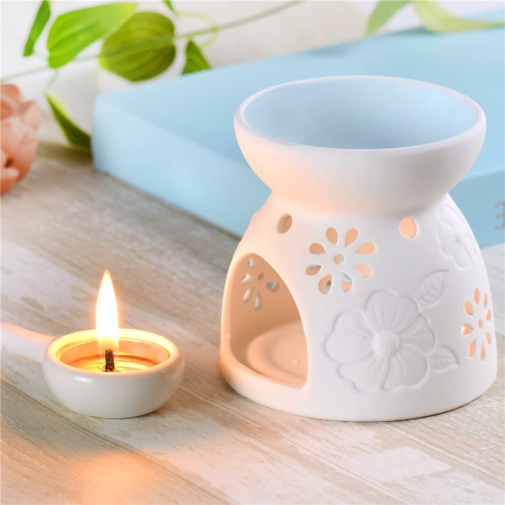 Jinvun Ceramic Essential Oil Burner Great for Meditation, Aromatherapy – Diffuser Tea Lights Holder - Ideal for Wedding Gifts & Indoor, Outdoor Gatherings – Great Decoration Air Freshener (Blue)