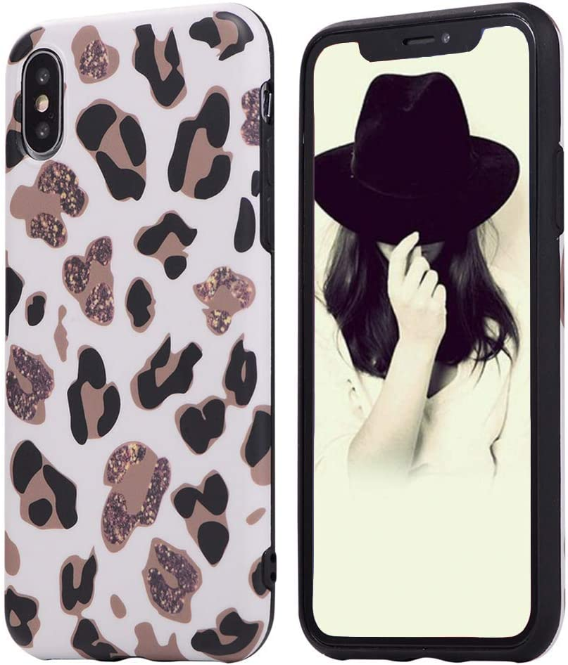 L-FADNUT Case Animal Leopard Print Phone Case Cool for iPhone Xr Ultra Thin Giraffe Pattern Cute Back Cover Skin Cheetah Cat Gel Silicone TPU Protective Cover(NO Real Glitter) for iPhone Xr White