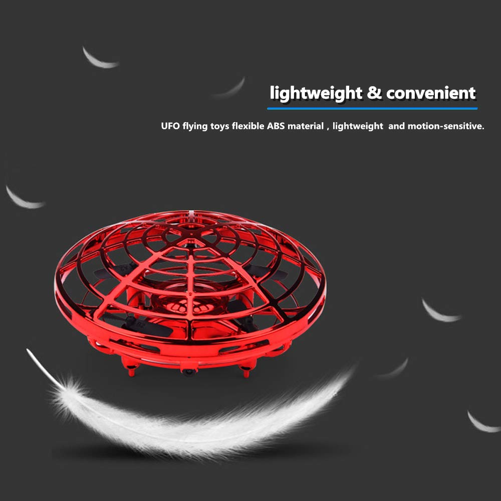 PerfectPromise UFO Flying Toys for Kids, Hand Controlled Mini Drone UFO Toy with 360° Rotating and LED Lights for Children Boys Girls---Red by PerfectPromise (Image #6)