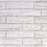 SiCoHome Brick Wallpaper,Gray,Removable wallpaper for Home Bar Wall Decoration,17.7 inches by 32.8 feet