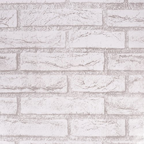 SICOHOME Brick Wallpaper,11 Yards Grey Peel and Stick ()
