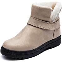 Jusefu Womens Snow Boots Winter Fur Lined Warm Ankle Boots Outdoor Sneakers Suede Flat Platform Slip on Anti-Slip Girls