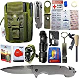 STEALTH SQUADS 42 in 1 SURVIVAL MILITARY POUCH KIT, PREMIUM TACTICAL POCKET KNIFE, FIRST AID KIT, EDC MULTI-TOOL USE FOR CAMPING, HIKING, BIKING, OUTDOOR EMERGENCY SAFETY GEARS w/ BONUS E-BOOK