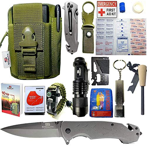 - STEALTH SQUADS 42 in 1 SURVIVAL MILITARY POUCH KIT, PREMIUM TACTICAL POCKET KNIFE, FIRST AID KIT, EDC MULTI-TOOL USE FOR CAMPING, HIKING, BIKING, OUTDOOR EMERGENCY SAFETY GEARS w/ BONUS E-BOOK
