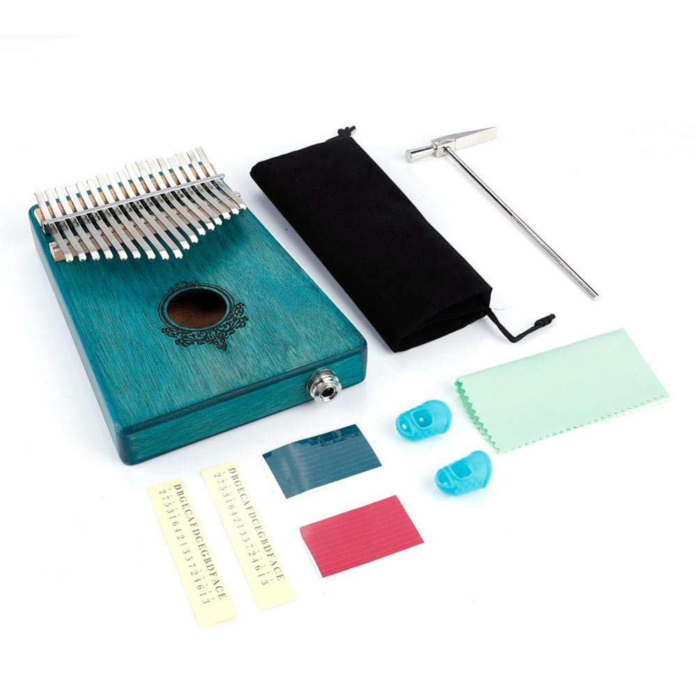 Portable17-Key Thumb Piano,Kalimba Thumb Piano Mahogany Wooden Body with Build - in Pickup (Mint Green) by Xinwoer