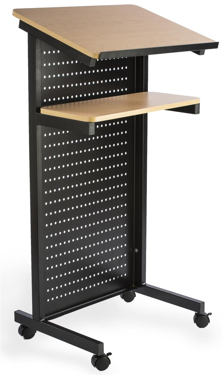 Displays2go Mobile Portable Presentation Lectern, Locking Wheels, with Shelf, Steel and MDF Wood (LCTMOBMETM)