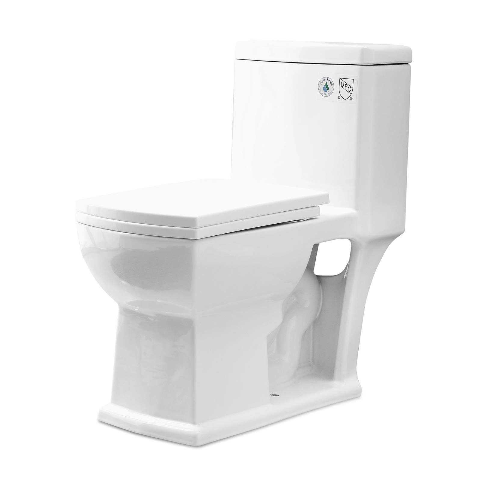 Mecor Elongated One-Piece Toilet Siphon Dual Flushing,Small Toilet Soft Closing Quick Release Seat 0.8/1.28Gpf,Cotton White. (26.4''X16.5''X29.9'') by mecor