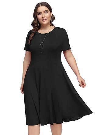 Hanna Nikole Women\'s Plus Size Short Sleeve Summer Casual Flared Midi Dress