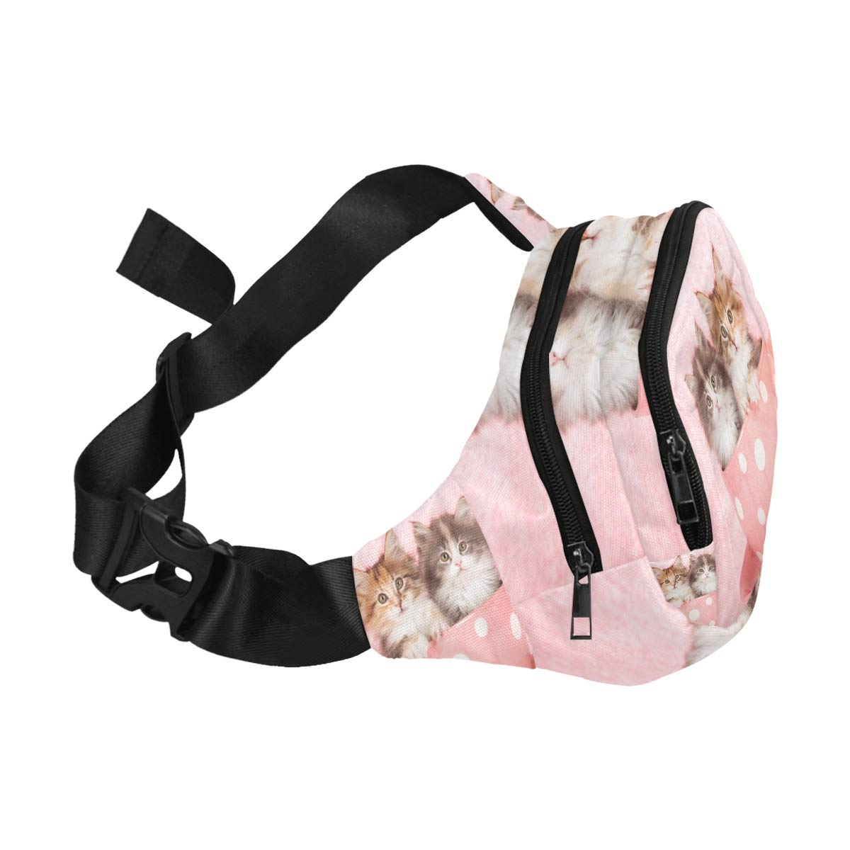 Cute Kitten Sitting In Large Cup Fenny Packs Waist Bags Adjustable Belt Waterproof Nylon Travel Running Sport Vacation Party For Men Women Boys Girls Kids