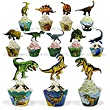 Dinosaur Party Supplies Cupcake Toppers and Wrappers 24 Pack Cupcake and Cake Decrorations for Kids Boys Birthday Party