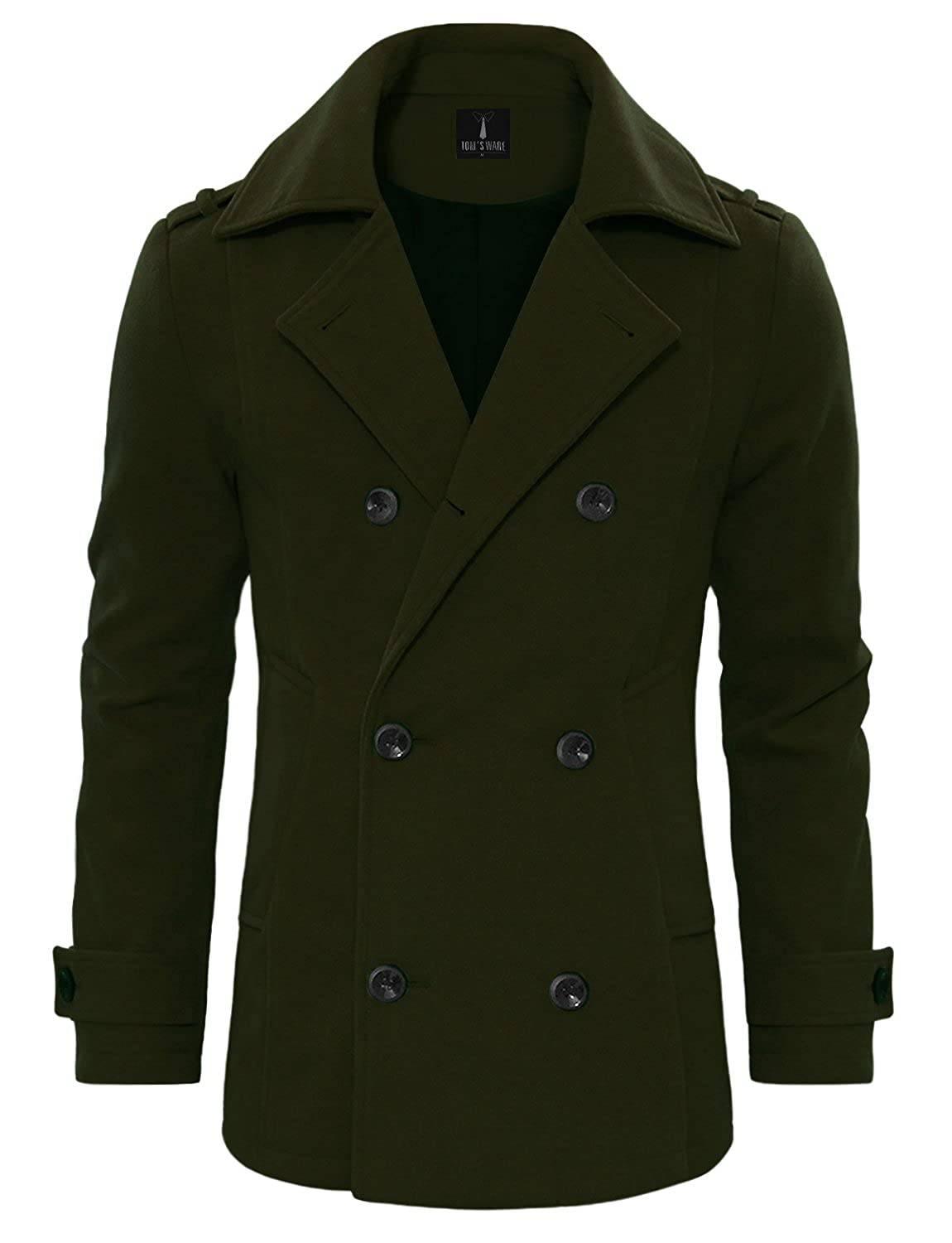 TAM Ware Men's Stylish Wool Blend Double Breasted Pea Coat TWCC10