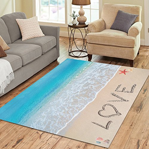 InterestPrint Tropical Coastal Ocean Seashell Area Rug Carpet 7 x 5 Feet, Summer Beach Starfish Love Valentine's Day Modern Floor Rugs Mat for Office Home Living Dining Room Decoration