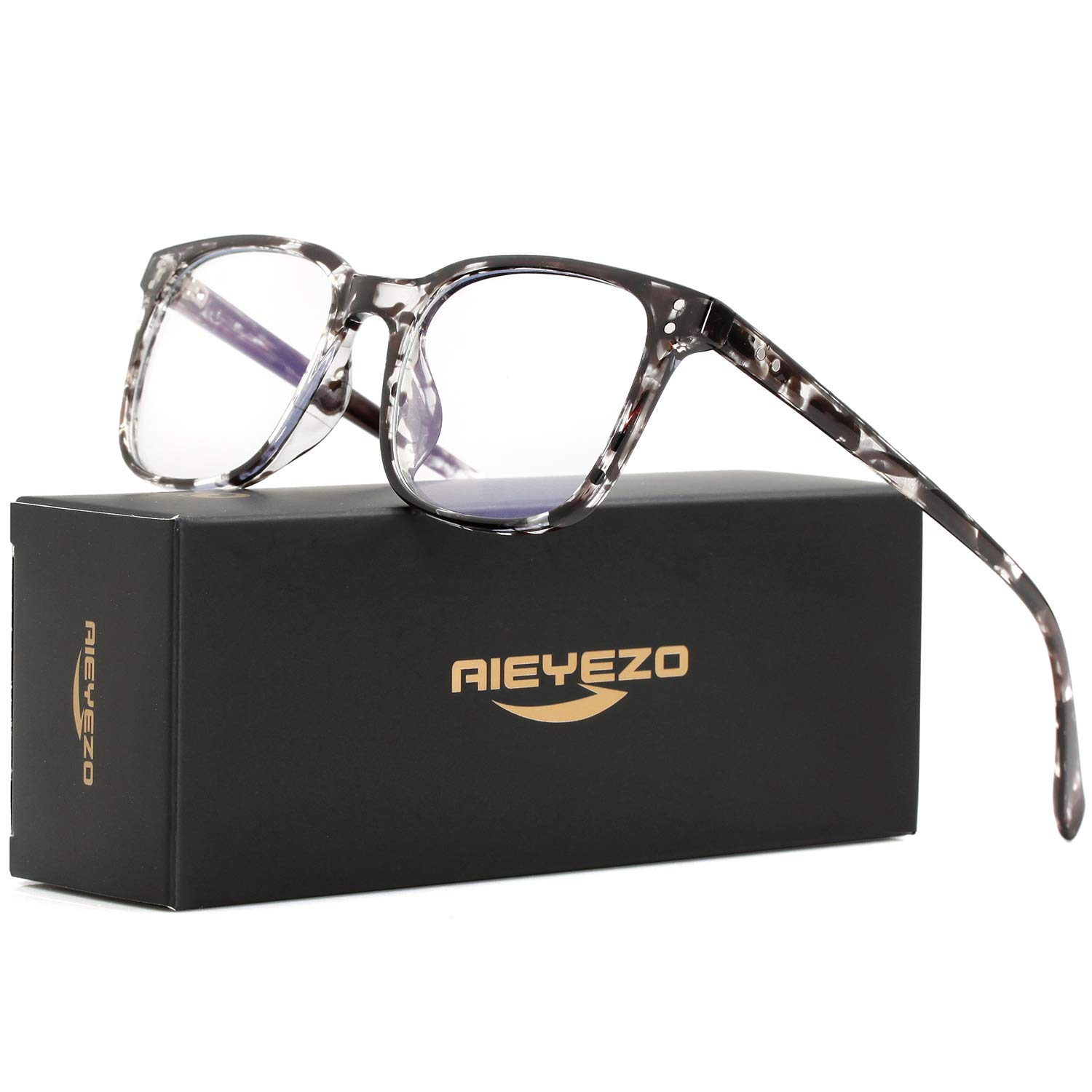 Blue Light Blocking Glasses for Men Women's Square Eyeglasses Unbreakable TR90 Frames with 100% Anti-Blue Light Lens (Ink Frame) by AIEYEZO