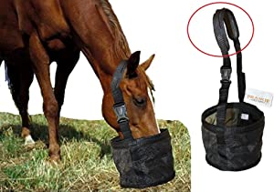 Feed Bag for Horses with Comfort Neck Pad, Heavy Duty Durable Canvas Grain Feedbag, Small Medium or Large