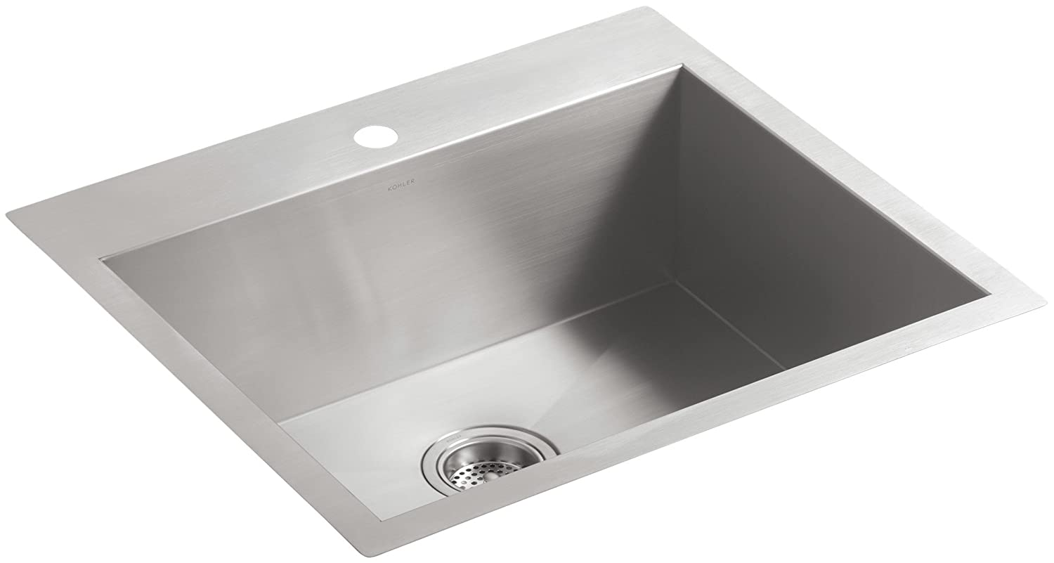 """KOHLER Vault 25"""" Single Bowl 18 Gauge Stainless Steel Kitchen Sink with Single Faucet Hole K-3822-1-NA Drop-in or Undermount Installation, 9 Inch Bowl"""