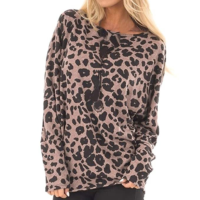 ALIKEEY Las Mujeres De Moda del Leopardo De La Camiseta Superior De Las Señoras Sueltan La Blusa Superior De Manga Larga: Amazon.es: Ropa y accesorios