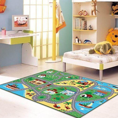 Furnish my Place City Street Map Children Learning Carpet/Kids Rugs Boy Girl Nursery/Bedroom/Playroom/Classrooms Play Mat, Rectangle, 3'3'' L by Furnish my Place (Image #4)