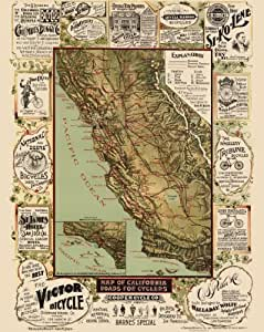 Old Transportation Maps - CALIFORNIA ROADS FOR CYCLERS (CA) BY BLUM 1892 - Glossy Satin Paper