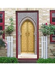 3D-deurstickersHome Decor Arabische Stijl Gouden Deur Muurschildering Muurstickers Behang Decals Woondecoratie Voor Kamer-90x200cm