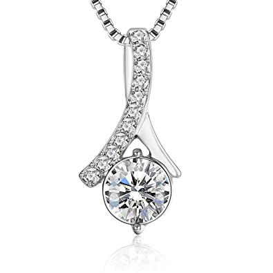 944811d45d89ce J. Fée Y Necklace Swarovski Crystal Diamond Zirconia Pendant 18K White Gold  Plated Necklace for
