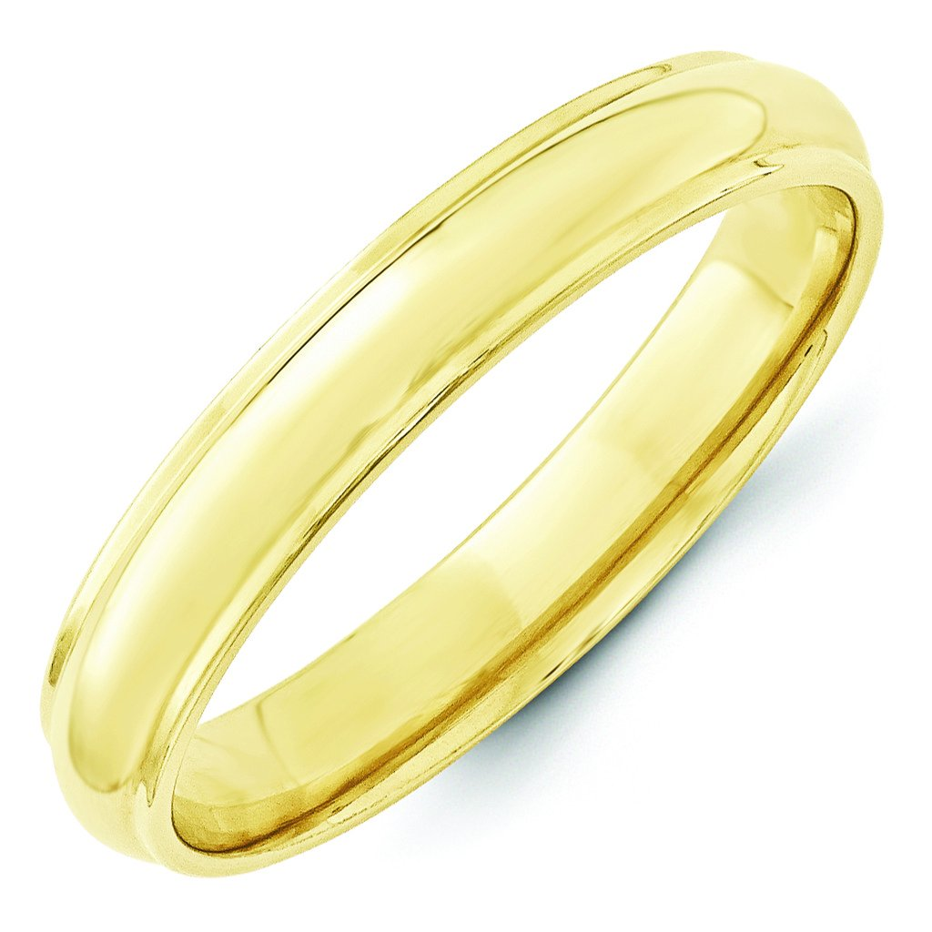 Forever Flawless Jewelry 10K Yellow Gold 4mm Half Round Domed Step Edge Wedding Band