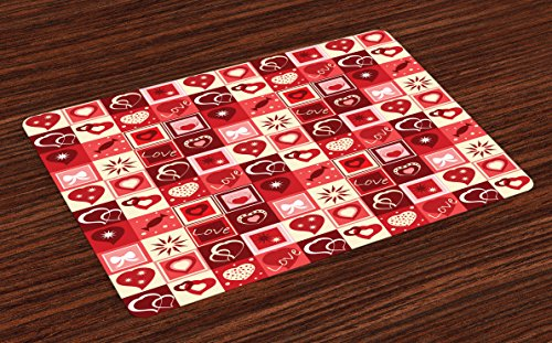 Ambesonne Red Place Mats Set of 4, Valentines Day Themed Fra