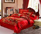 HNNSI 4pcs Wedding Bedding Sets Queen Size, Chinese Red Satin Lace Duvet Cover Set with Cotton Flat Sheet, Quit/Comforter Cover Sets, Luxury Gifts (Queen, style1)