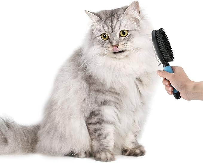 Doppelb/ürste f/ür Hunde und Katzen Fellpflege 2in1-B/ürste zur Entfernung von Knoten losen Haaren und Schmutz Flohkamm F/üR Katzen Katzenb/üRste