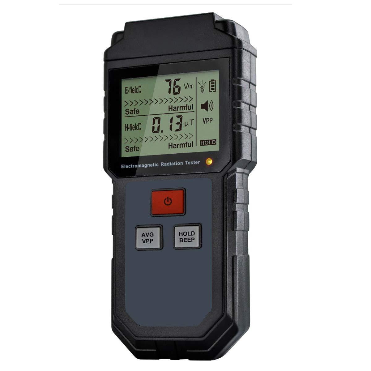 EMF Meter, Household Electromagnetic Radiation Tester, Electric Field and Magnetic Field Radiation Handheld Mini Digital LCD Temperature EMF Detector Dosimeter Tester