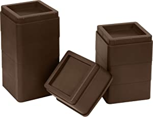 Utopia Bedding Furniture and Bed Risers - 2 Inch Stackable Square Risers for Sofa, Table, and Chair Lifts 8 Piece Set (Brown)