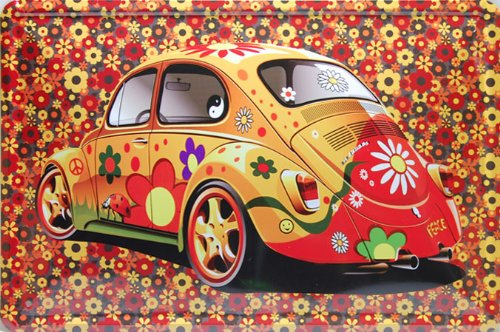 Colorfull Flower Volkswagen Beetle, Metal Tin Sign, Tin