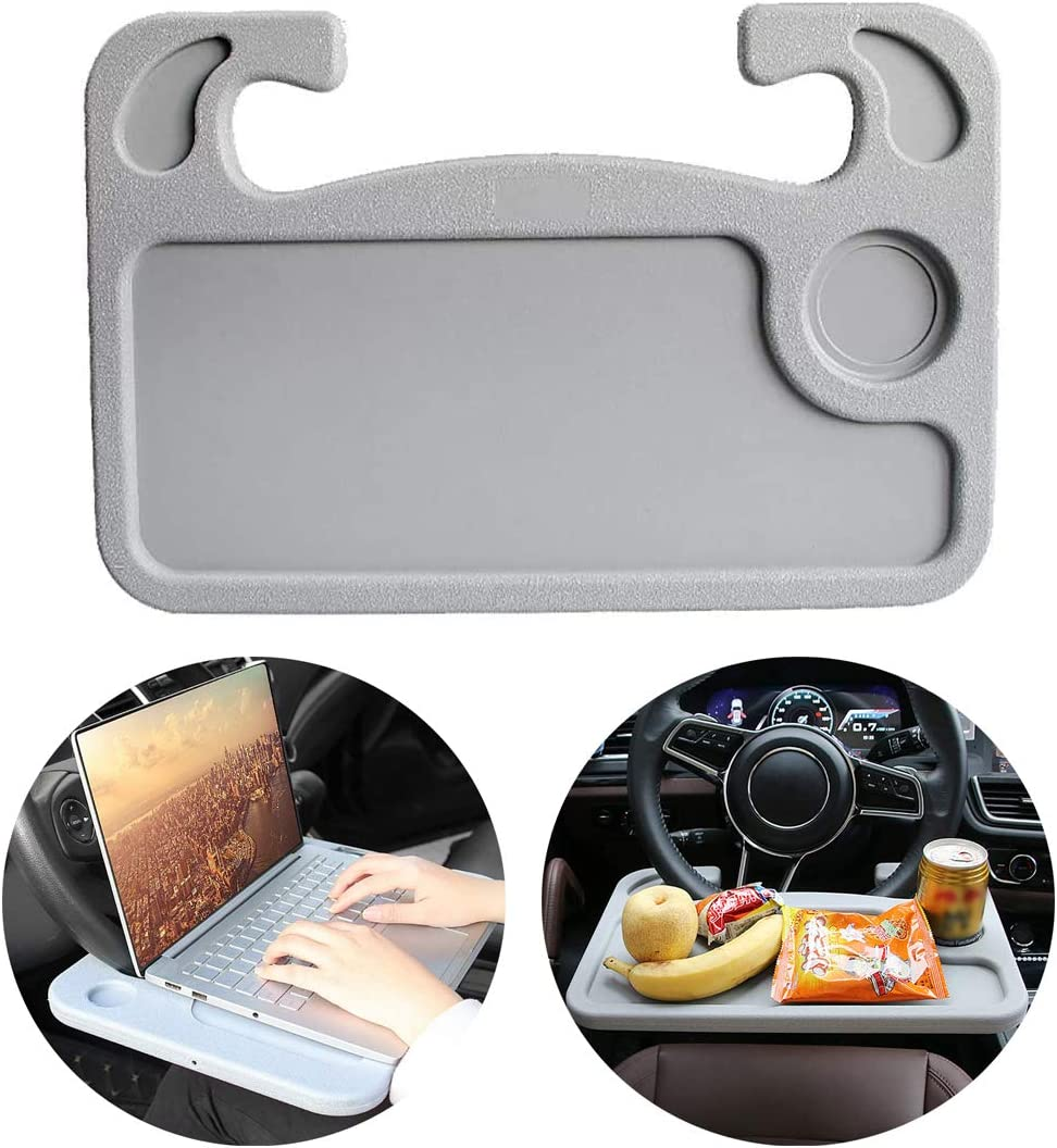 DAIFUQIHUA Steering Wheel Tray Portable Multifunctional Desk for Laptop Eating Travelling Car Trays for eating Car desk for laptop Steering Wheel desk for food Suits Most Cars (Gray)