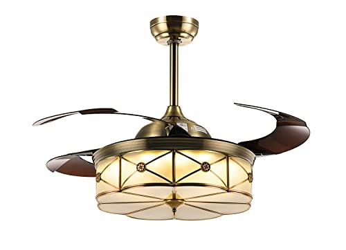 NOXARTE 42 Inch Promote Natural Ventilation Brass Color Invisible Fan LED Dimmable Warm Daylight Cool White Chandelier Foldable Ceiling Fans With Lights Retractable Fan Fandelier with Remote