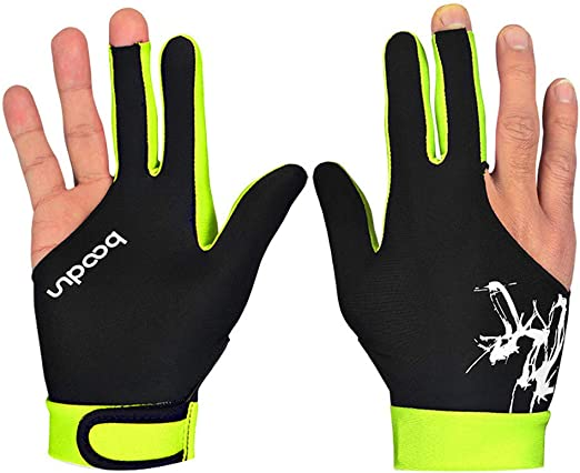 Elastic Lycra 3 Fingers Billiard Pool Snooker Cue Gloves Billiard Accessories for Left and Right Hand 2 Pcs Billiard Gloves Snooker Gloves