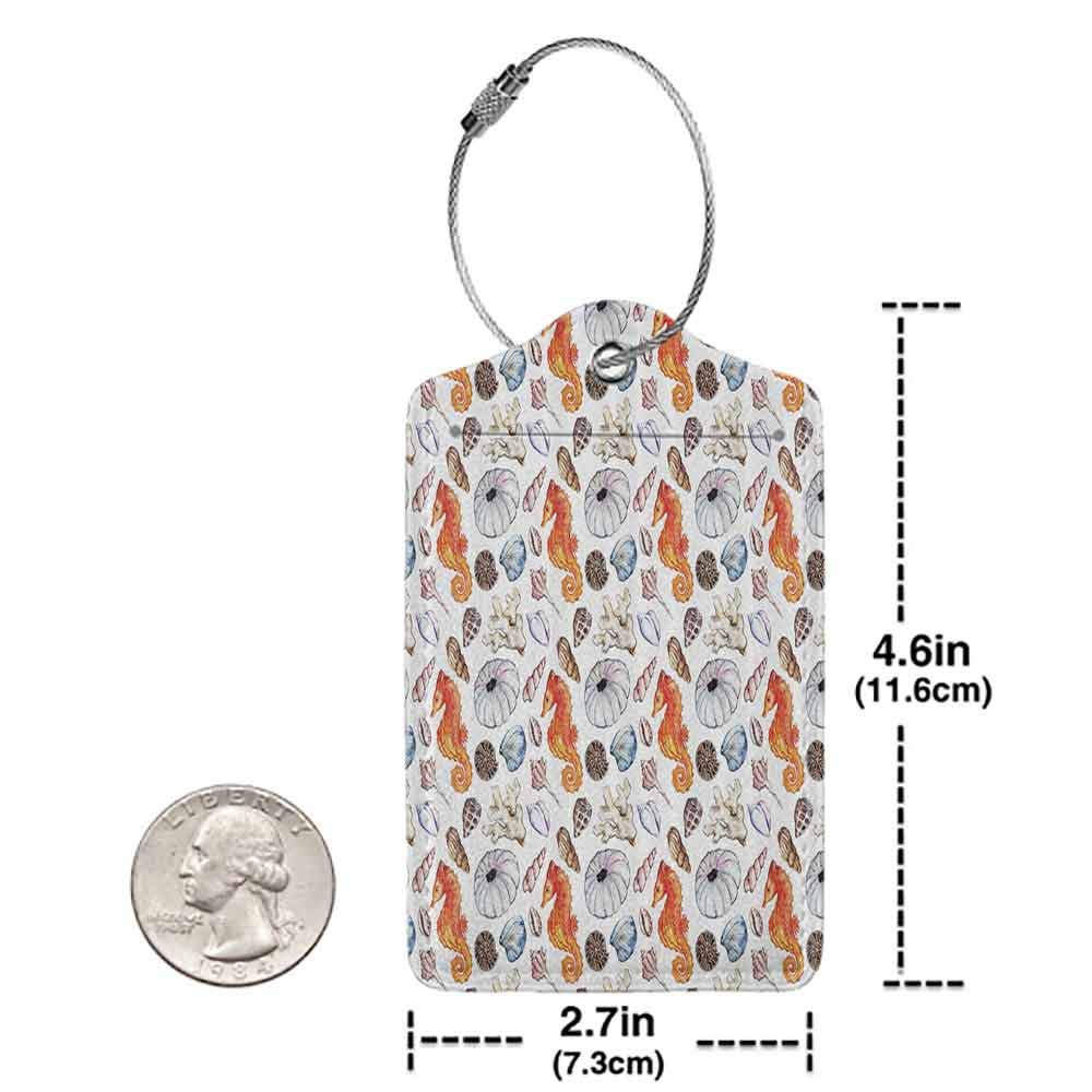 Multicolor luggage tag Animal Decor Bunch of Deep Sea Elements with Screw Shell Crabs Urchin Oyster Coral Ammonit Print Hanging on the suitcase Multi W2.7 x L4.6